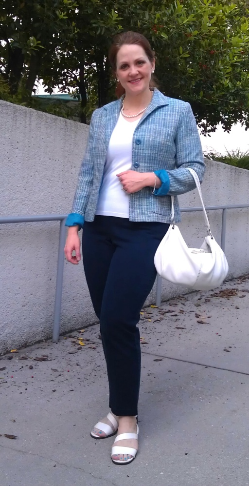 Blue Tweed, White Tee, White Accessories